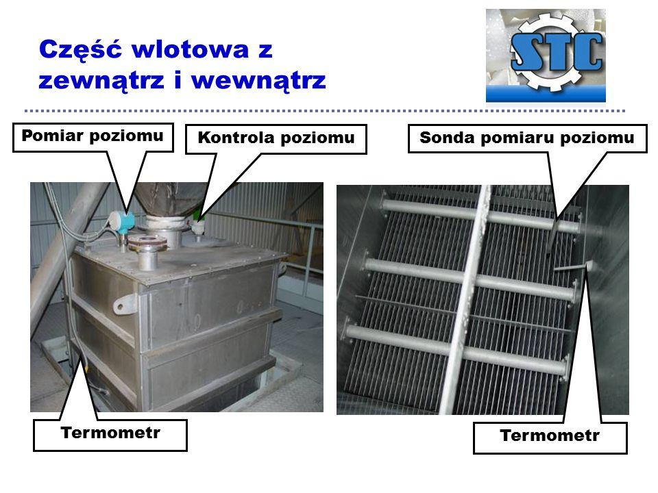 Część wlotowa z zewnątrz i wewnątrz Pomiar poziomu Kontrola poziomu Termometr Sonda pomiaru poziomu Termometr