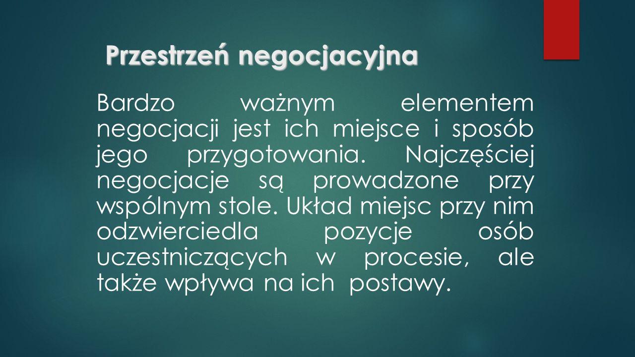 Przestrzeń negocjacyjna Bardzo ważnym elementem negocjacji jest ich miejsce i sposób jego przygotowania.
