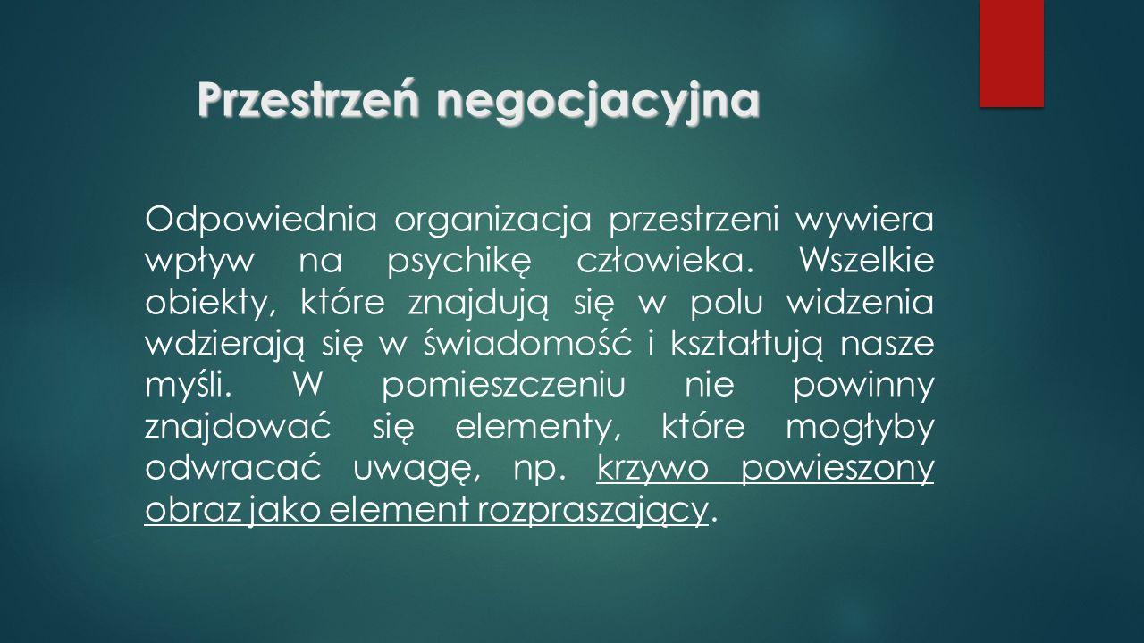 Przestrzeń negocjacyjna Odpowiednia organizacja przestrzeni wywiera wpływ na psychikę człowieka.