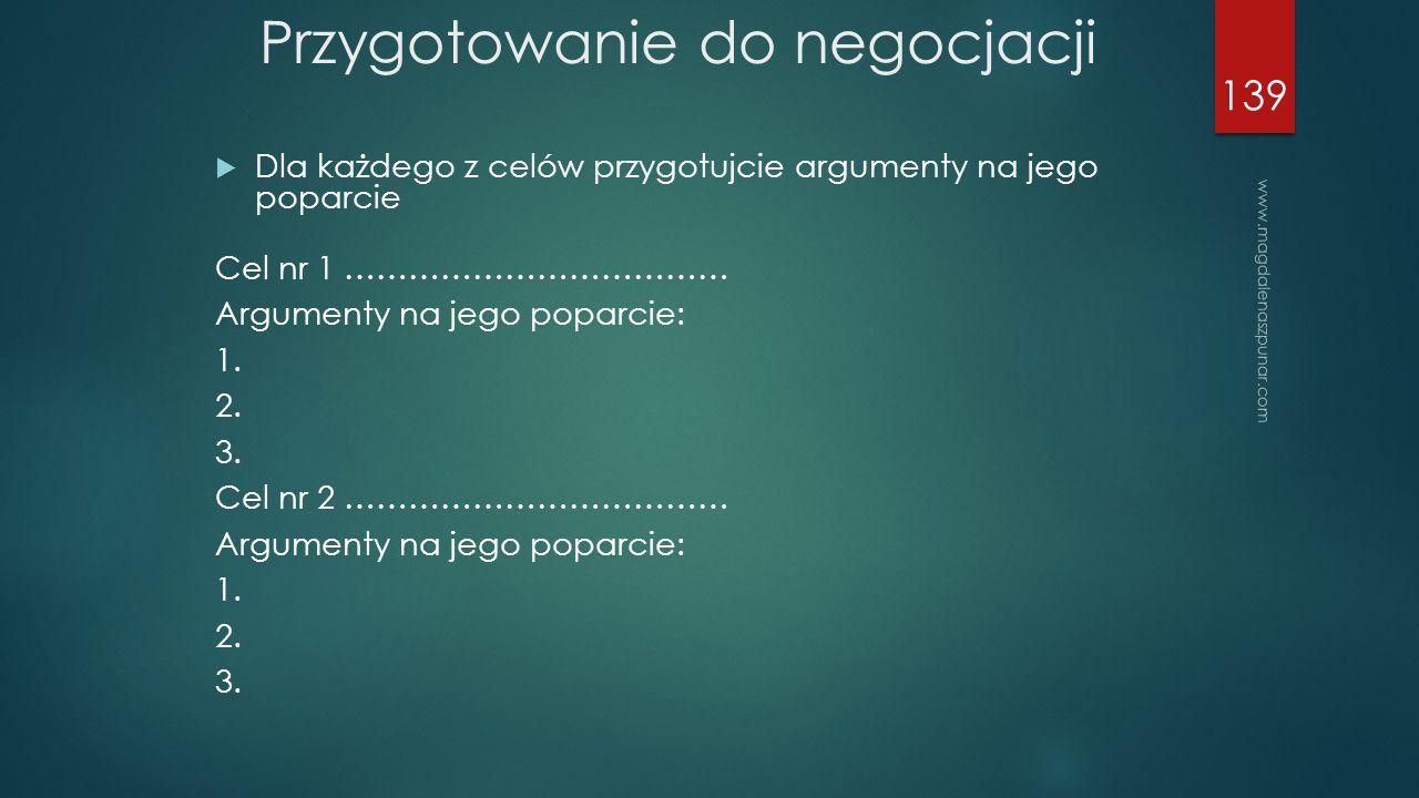 www.magdalenaszpunar.com 139  Dla każdego z celów przygotujcie argumenty na jego poparcie Cel nr 1 ……………………………… Argumenty na jego poparcie: 1.