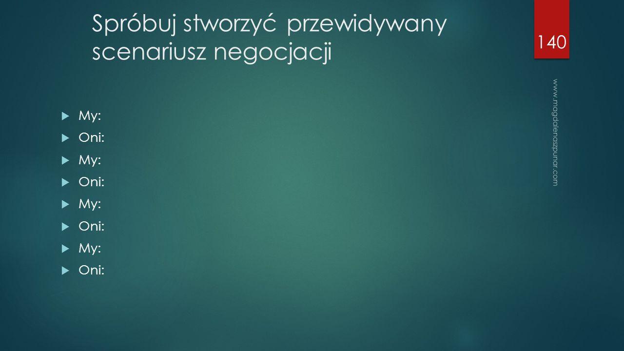 www.magdalenaszpunar.com 140 Spróbuj stworzyć przewidywany scenariusz negocjacji  My:  Oni:  My:  Oni:  My:  Oni:  My:  Oni: