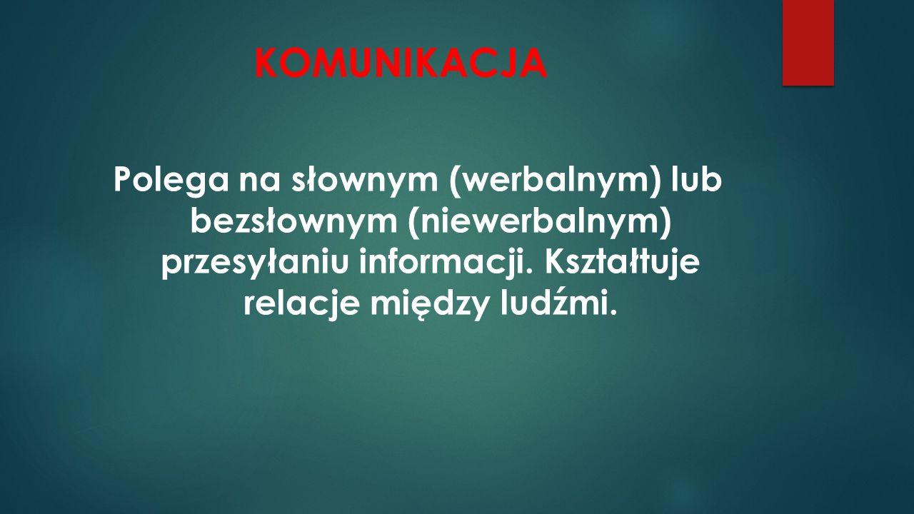 KOMUNIKACJA Polega na słownym (werbalnym) lub bezsłownym (niewerbalnym) przesyłaniu informacji.