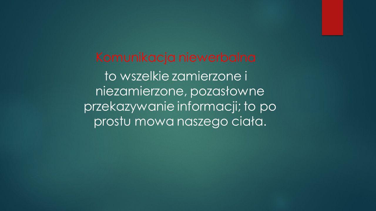 Komunikacja niewerbalna to wszelkie zamierzone i niezamierzone, pozasłowne przekazywanie informacji; to po prostu mowa naszego ciała.