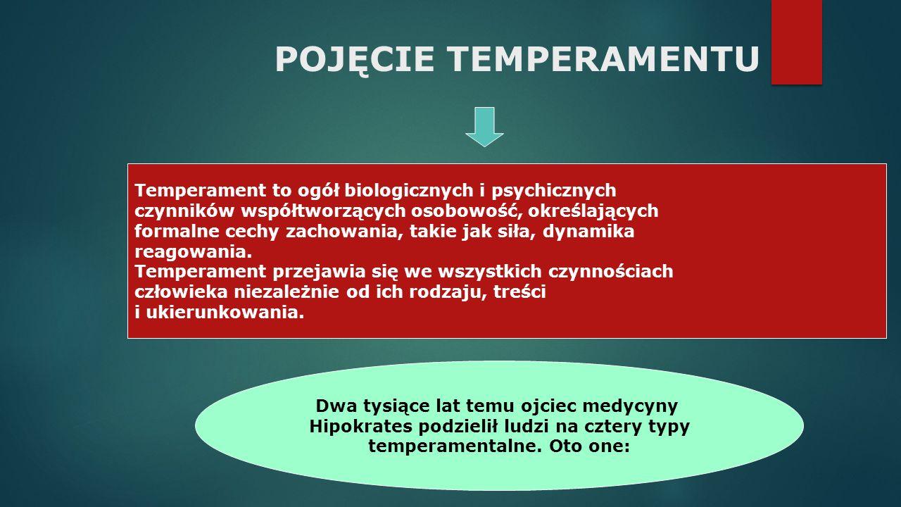 POJĘCIE TEMPERAMENTU Temperament to ogół biologicznych i psychicznych czynników współtworzących osobowość, określających formalne cechy zachowania, takie jak siła, dynamika reagowania.