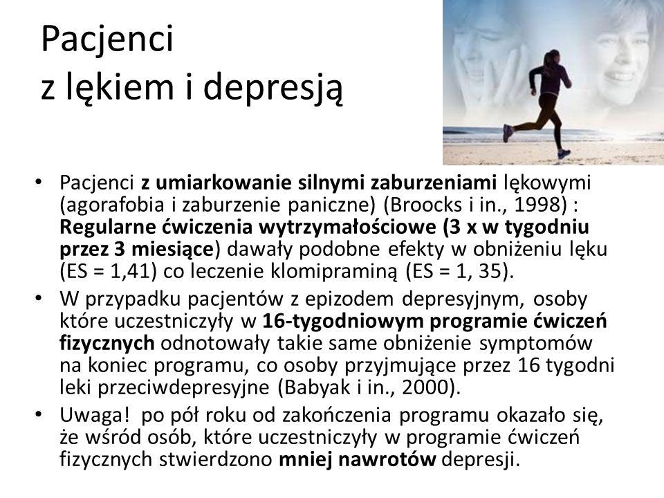 Pacjenci z lękiem i depresją Pacjenci z umiarkowanie silnymi zaburzeniami lękowymi (agorafobia i zaburzenie paniczne) (Broocks i in., 1998) : Regularne ćwiczenia wytrzymałościowe (3 x w tygodniu przez 3 miesiące) dawały podobne efekty w obniżeniu lęku (ES = 1,41) co leczenie klomipraminą (ES = 1, 35).