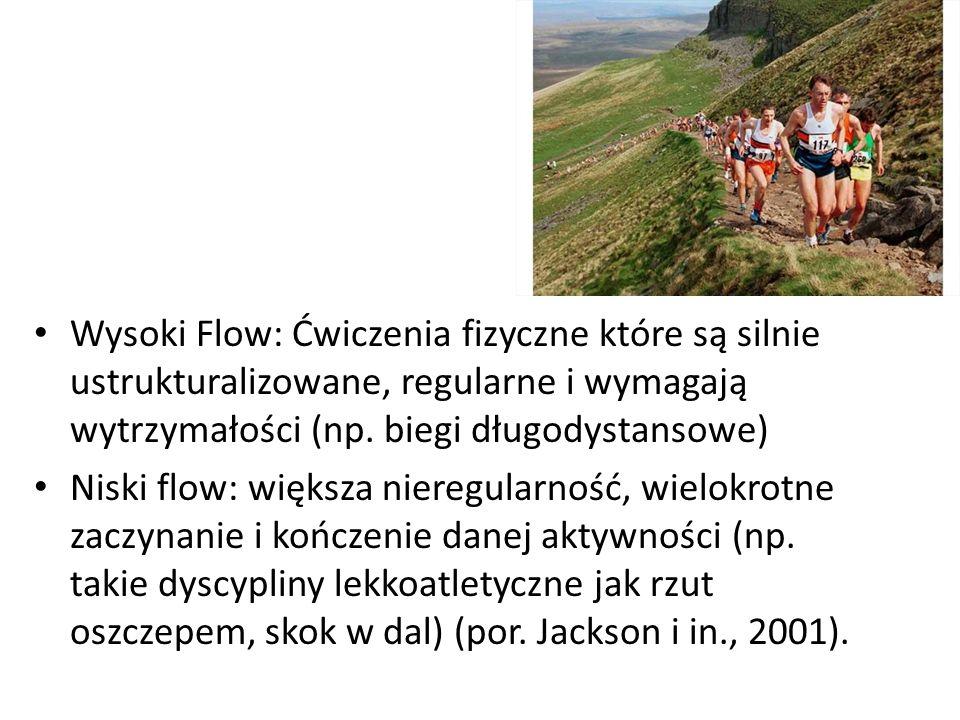 Wysoki Flow: Ćwiczenia fizyczne które są silnie ustrukturalizowane, regularne i wymagają wytrzymałości (np.