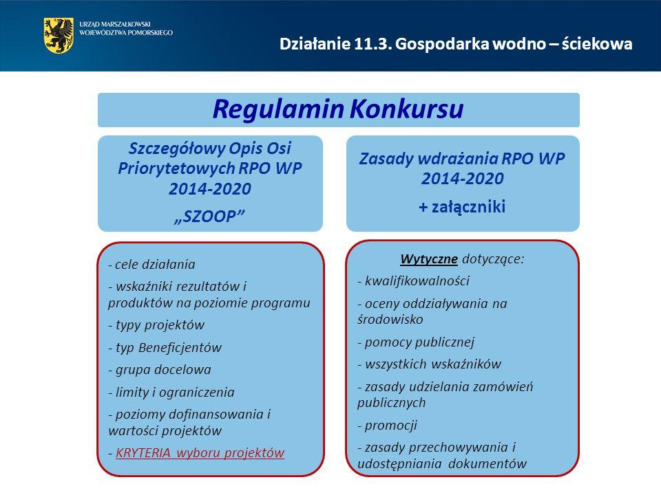 """Regulamin Konkursu Szczegółowy Opis Osi Priorytetowych RPO WP 2014-2020 """"SZOOP - cele działania - wskaźniki rezultatów i produktów na poziomie programu - typy projektów - typ Beneficjentów - grupa docelowa - limity i ograniczenia - poziomy dofinansowania i wartości projektów - KRYTERIA wyboru projektów Zasady wdrażania RPO WP 2014-2020 + załączniki Wytyczne dotyczące: - kwalifikowalności - oceny oddziaływania na środowisko - pomocy publicznej - wszystkich wskaźników - zasady udzielania zamówień publicznych - promocji - zasady przechowywania i udostępniania dokumentów Działanie 11.3."""