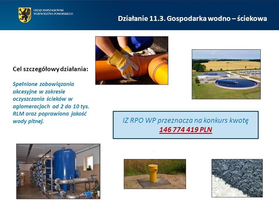 Cel szczegółowy działania: IZ RPO WP przeznacza na konkurs kwotę 146 774 419 PLN.