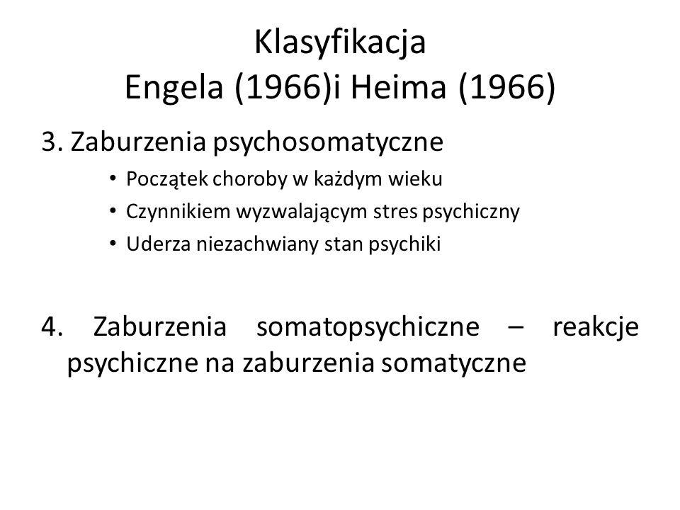 Klasyfikacja Engela (1966)i Heima (1966) 3. Zaburzenia psychosomatyczne Początek choroby w każdym wieku Czynnikiem wyzwalającym stres psychiczny Uderz