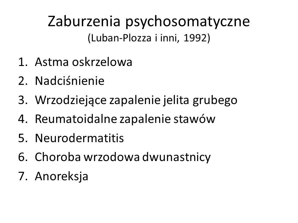 Zaburzenia psychosomatyczne (Luban-Plozza i inni, 1992) 1.Astma oskrzelowa 2.Nadciśnienie 3.Wrzodziejące zapalenie jelita grubego 4.Reumatoidalne zapa
