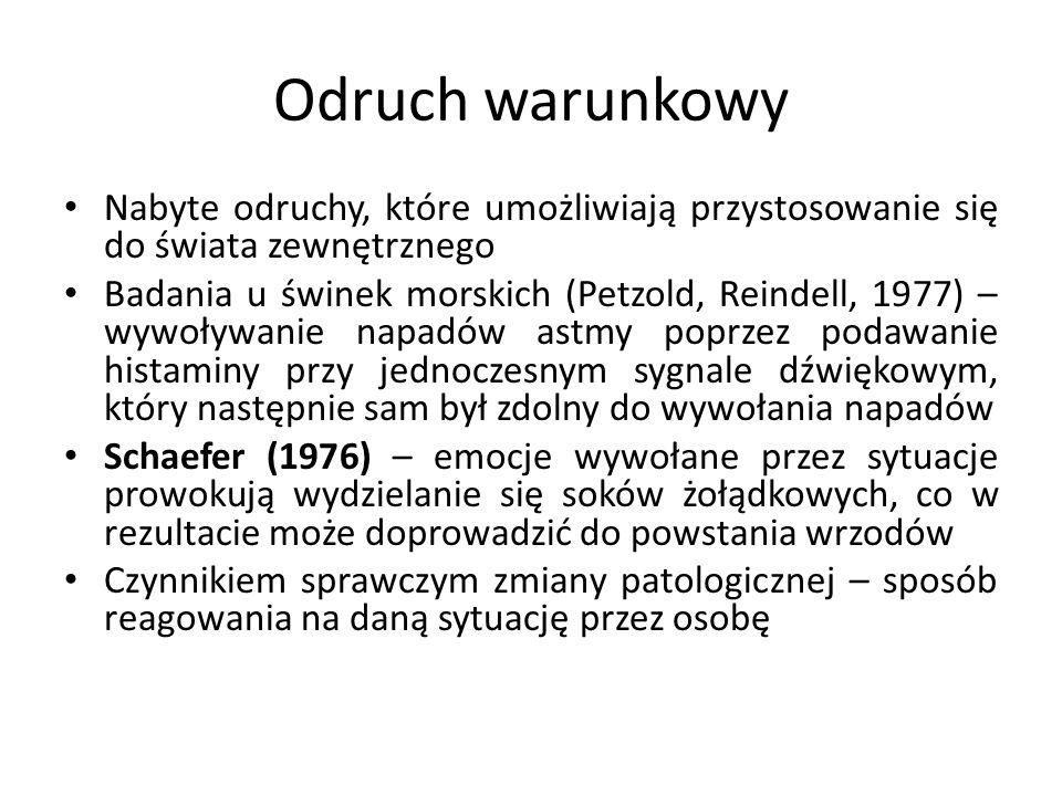 Odruch warunkowy Nabyte odruchy, które umożliwiają przystosowanie się do świata zewnętrznego Badania u świnek morskich (Petzold, Reindell, 1977) – wyw