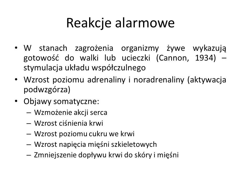 Reakcje alarmowe W stanach zagrożenia organizmy żywe wykazują gotowość do walki lub ucieczki (Cannon, 1934) – stymulacja układu współczulnego Wzrost p