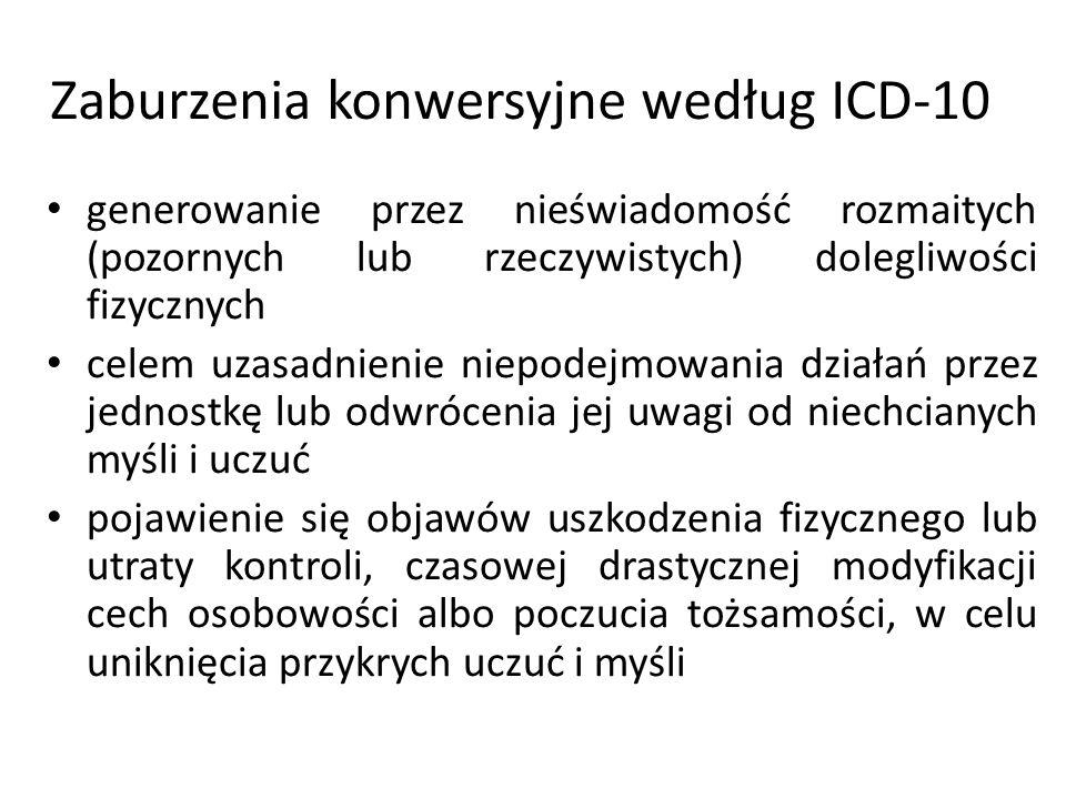 Zaburzenia konwersyjne według ICD-10 generowanie przez nieświadomość rozmaitych (pozornych lub rzeczywistych) dolegliwości fizycznych celem uzasadnien