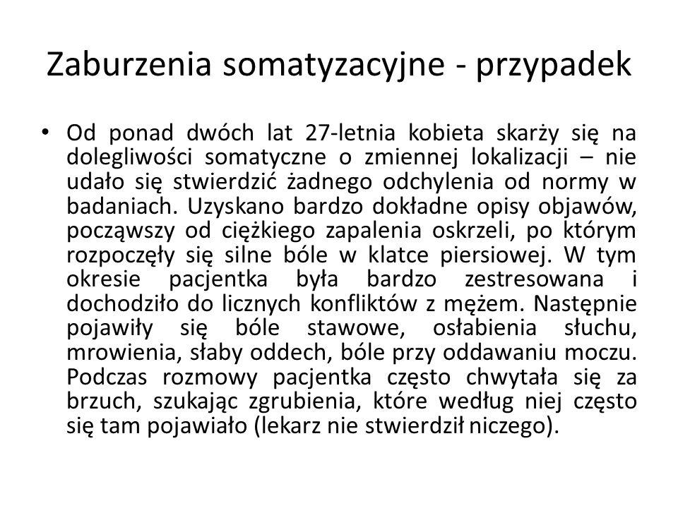 Zaburzenia somatyzacyjne - przypadek Od ponad dwóch lat 27-letnia kobieta skarży się na dolegliwości somatyczne o zmiennej lokalizacji – nie udało się