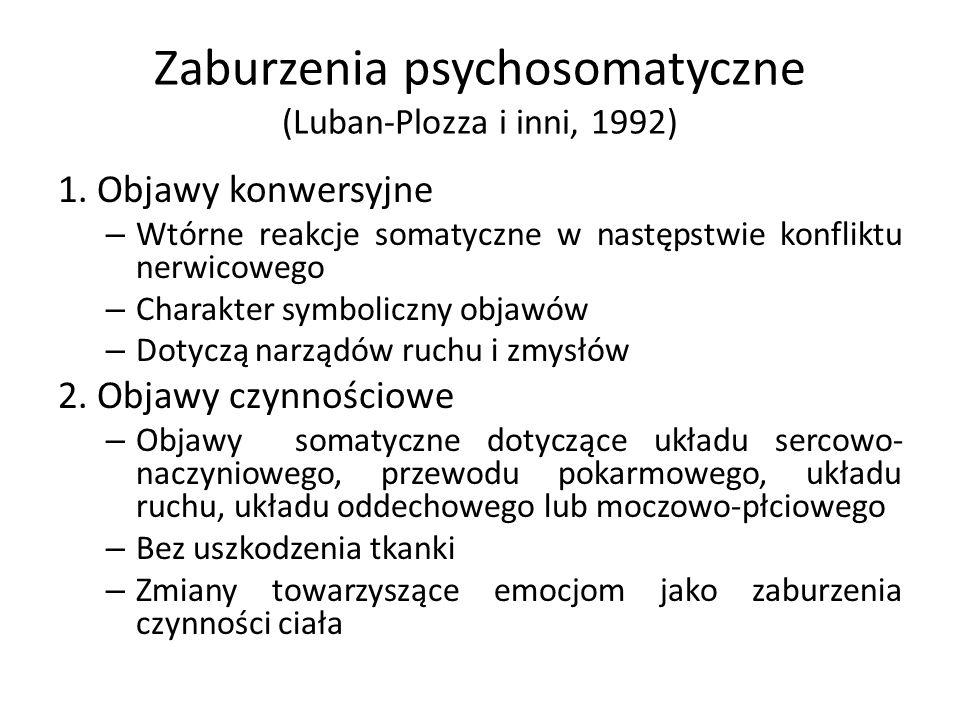 Zaburzenia psychosomatyczne (Luban-Plozza i inni, 1992) 1. Objawy konwersyjne – Wtórne reakcje somatyczne w następstwie konfliktu nerwicowego – Charak