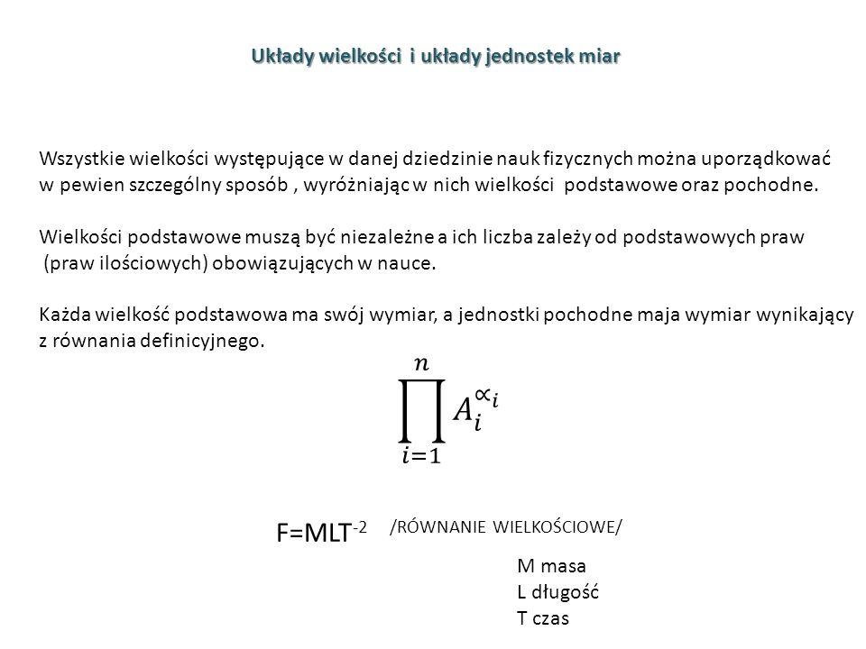 Układy wielkości i układy jednostek miar M masa L długość T czas