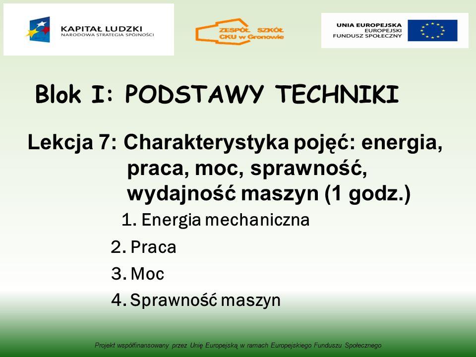 Blok I: PODSTAWY TECHNIKI Lekcja 7: Charakterystyka pojęć: energia, praca, moc, sprawność, wydajność maszyn (1 godz.) 1.