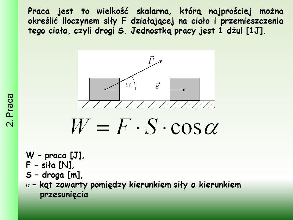 2. Praca Praca jest to wielkość skalarna, którą najprościej można określić iloczynem siły F działającej na ciało i przemieszczenia tego ciała, czyli d