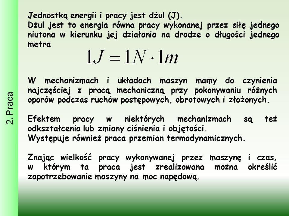 2. Praca Jednostką energii i pracy jest dżul (J).