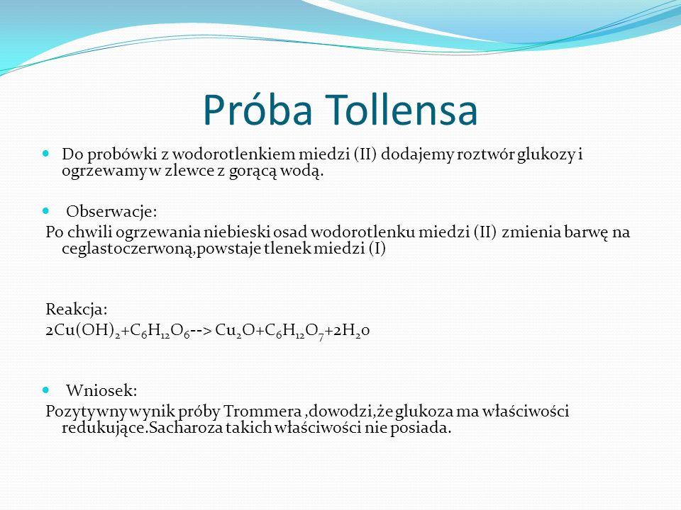 Próba Tollensa Do probówki z wodorotlenkiem miedzi (II) dodajemy roztwór glukozy i ogrzewamy w zlewce z gorącą wodą.