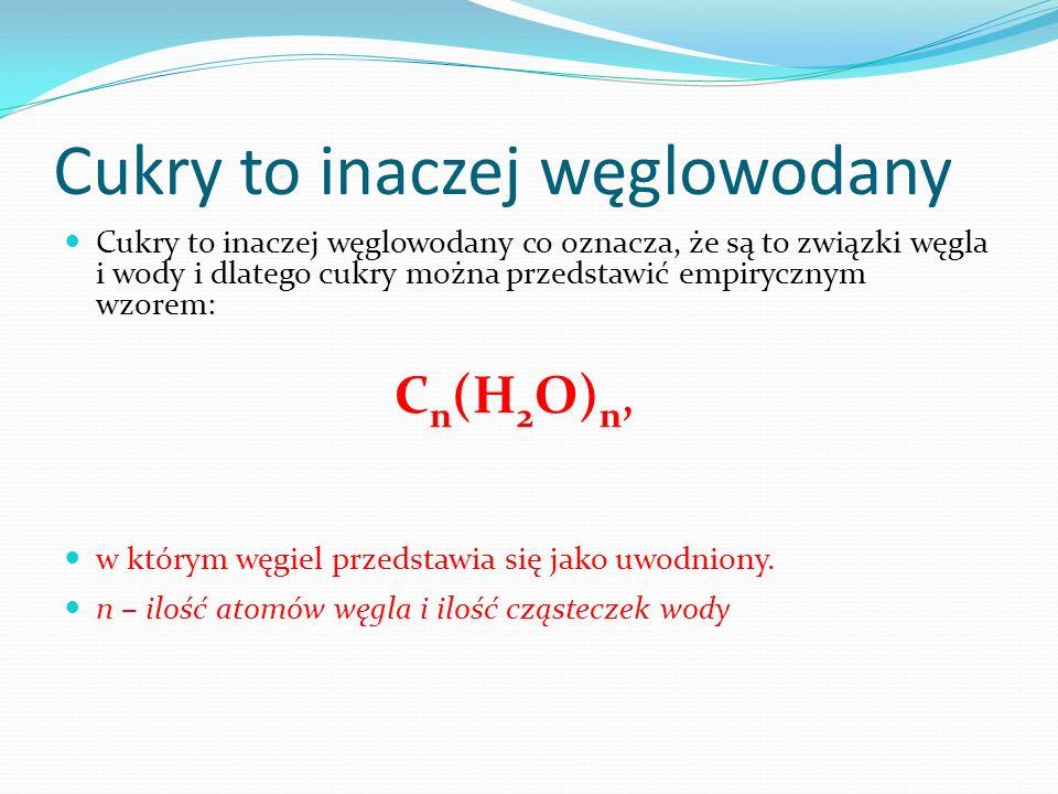 Cukry to inaczej węglowodany Cukry to inaczej węglowodany co oznacza, że są to związki węgla i wody i dlatego cukry można przedstawić empirycznym wzorem: C n (H 2 O) n, w którym węgiel przedstawia się jako uwodniony.