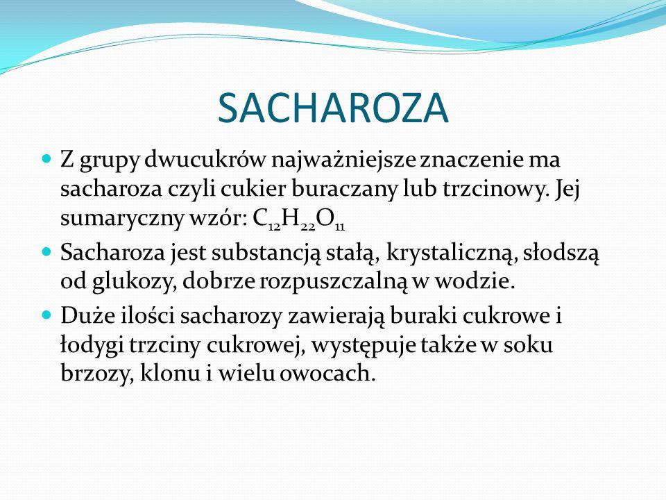 SACHAROZA Z grupy dwucukrów najważniejsze znaczenie ma sacharoza czyli cukier buraczany lub trzcinowy.