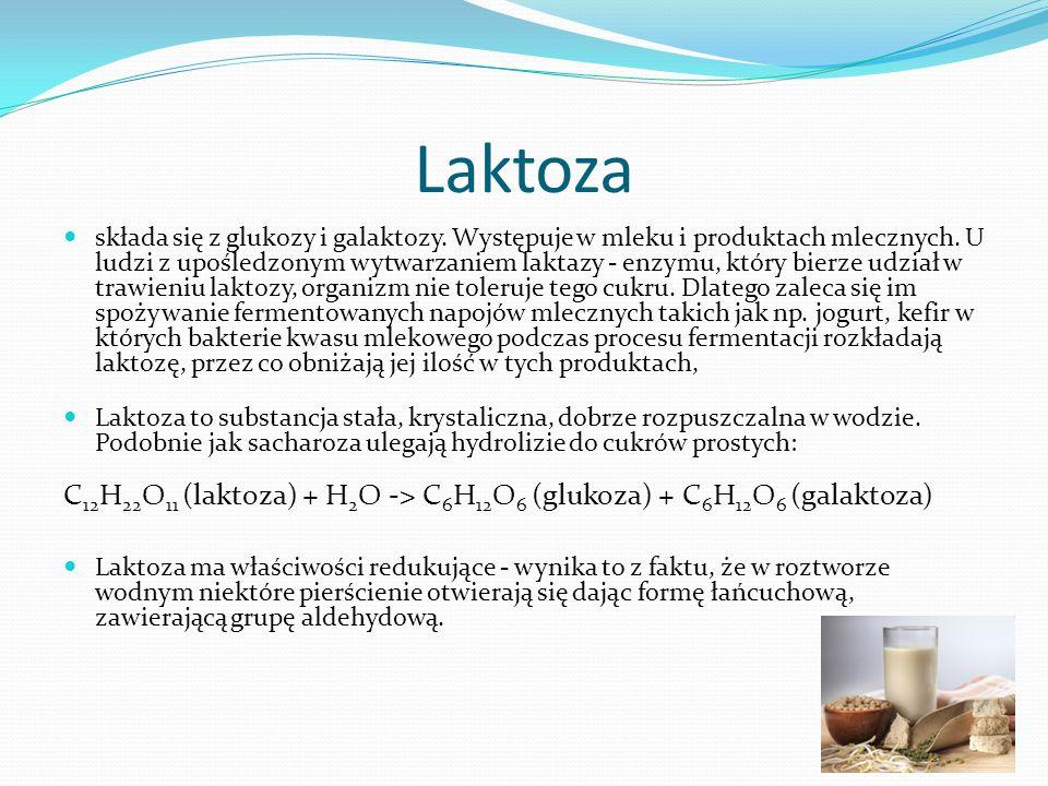 Laktoza składa się z glukozy i galaktozy. Występuje w mleku i produktach mlecznych.