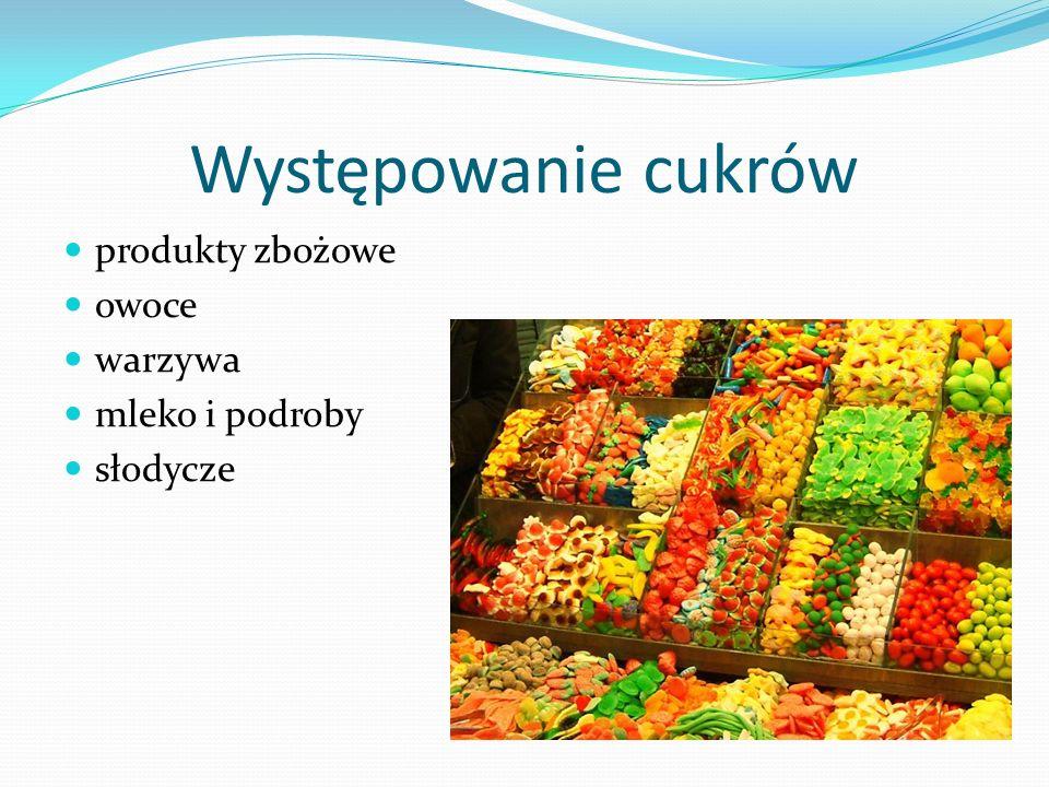 Występowanie cukrów produkty zbożowe owoce warzywa mleko i podroby słodycze