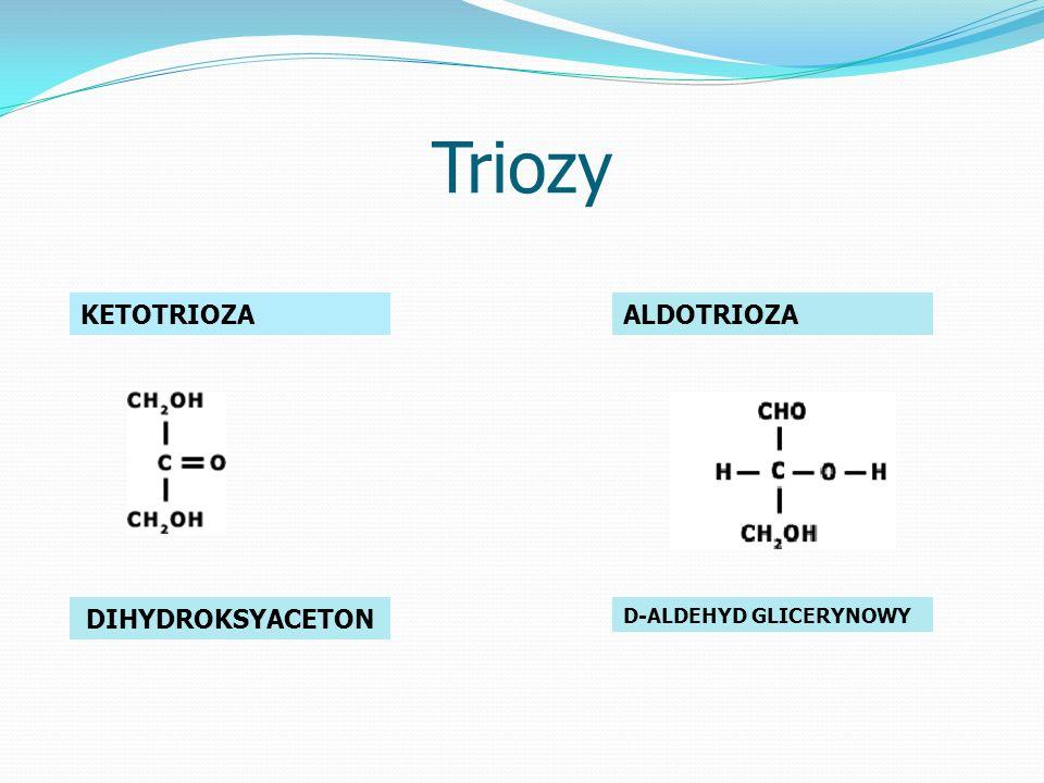 Triozy KETOTRIOZA DIHYDROKSYACETON ALDOTRIOZA D-ALDEHYD GLICERYNOWY