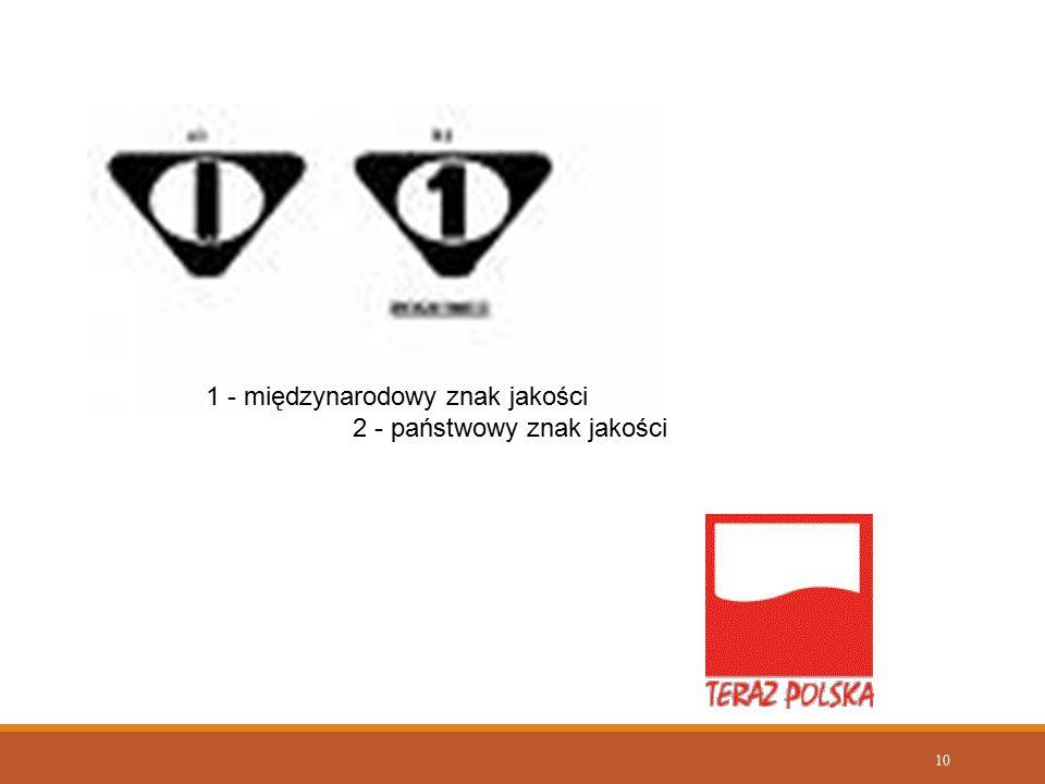 10 1 - międzynarodowy znak jakości 2 - państwowy znak jakości