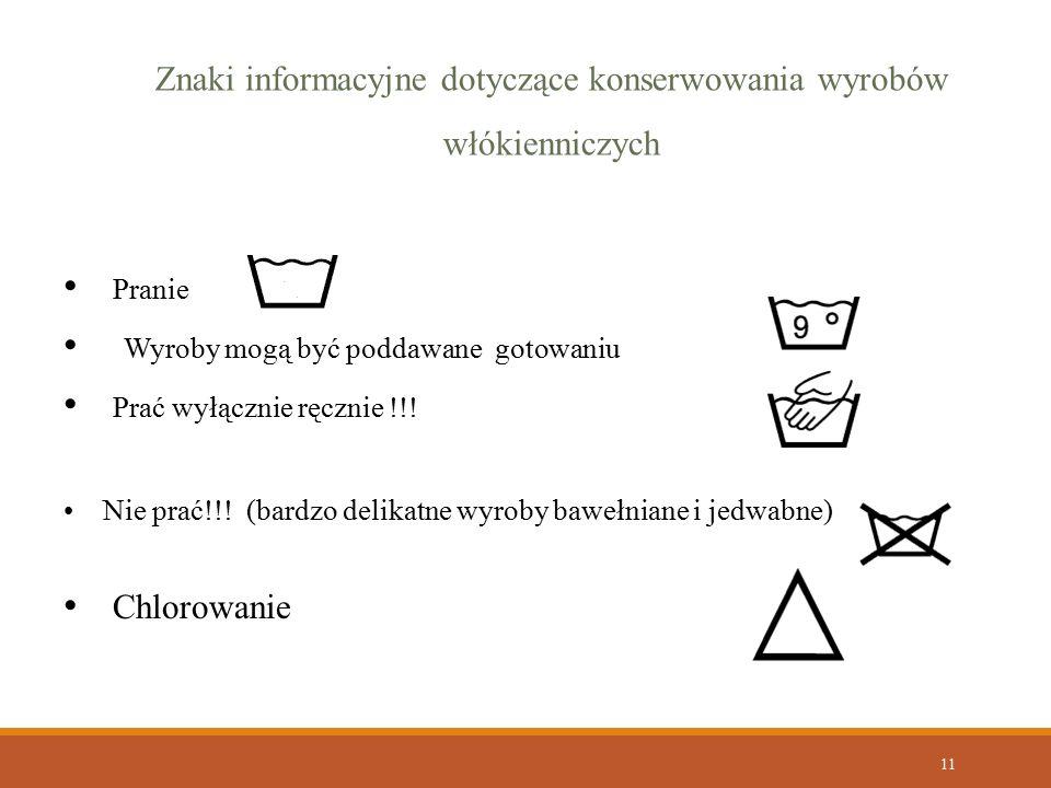 11 Znaki informacyjne dotyczące konserwowania wyrobów włókienniczych Pranie Wyroby mogą być poddawane gotowaniu Prać wyłącznie ręcznie !!! Nie prać!!!