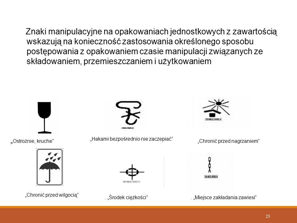 23 Znaki manipulacyjne na opakowaniach jednostkowych z zawartością wskazują na konieczność zastosowania określonego sposobu postępowania z opakowaniem