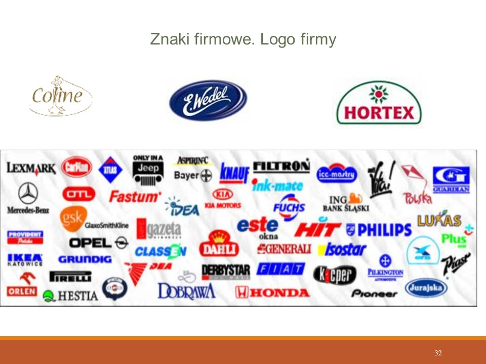 32 Znaki firmowe. Logo firmy