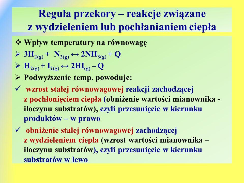 Reguła przekory – reakcje związane z wydzieleniem lub pochłanianiem ciepła  Wpływ temperatury na równowagę  3H 2(g) + N 2(g) ↔ 2NH 3(g) + Q  H 2(g) + I 2(g) ↔ 2HI (g) – Q  Podwyższenie temp.