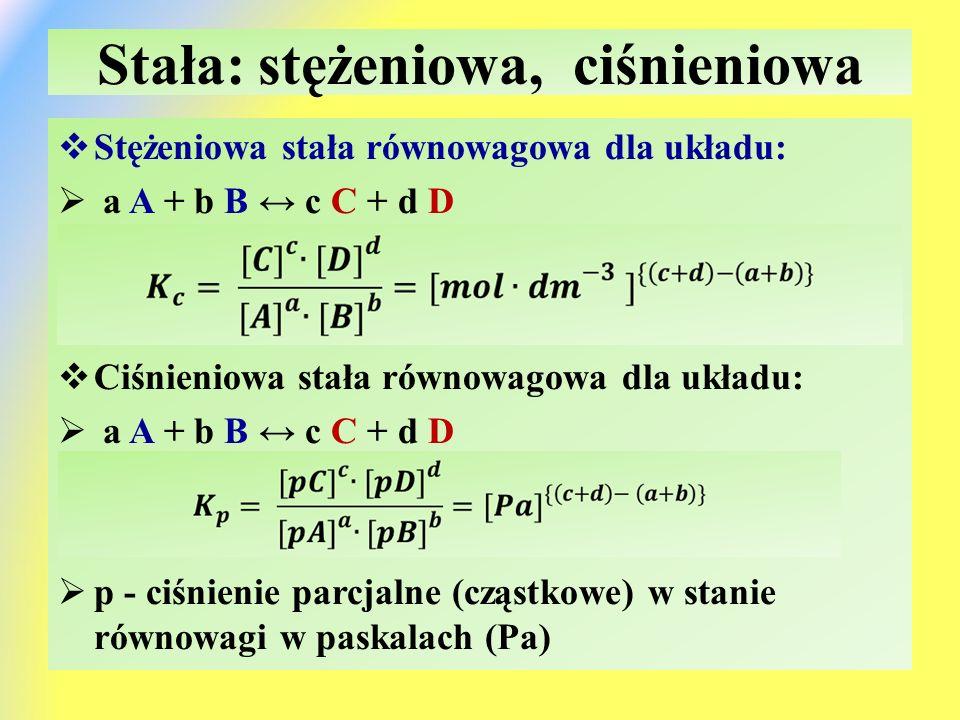 Stała: stężeniowa, ciśnieniowa  Stężeniowa stała równowagowa dla układu:  a A + b B ↔ c C + d D  Ciśnieniowa stała równowagowa dla układu:  a A + b B ↔ c C + d D  p - ciśnienie parcjalne (cząstkowe) w stanie równowagi w paskalach (Pa)