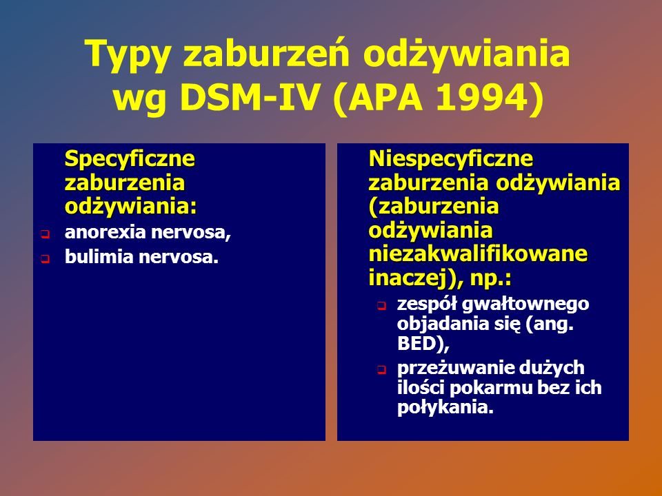Typy zaburzeń odżywiania wg DSM-IV (APA 1994) Specyficzne zaburzenia odżywiania:   anorexia nervosa,   bulimia nervosa. Niespecyficzne zaburzenia