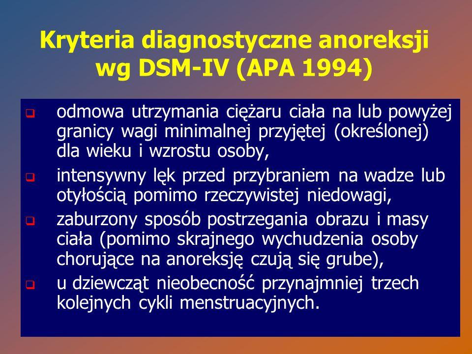 Kryteria diagnostyczne anoreksji wg DSM-IV (APA 1994)   odmowa utrzymania ciężaru ciała na lub powyżej granicy wagi minimalnej przyjętej (określonej