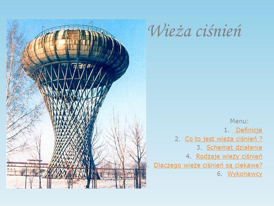 Wieża ciśnień Menu: 1. Definicje Definicje 2.Co to jest wieża ciśnień ?Co to jest wieża ciśnień .