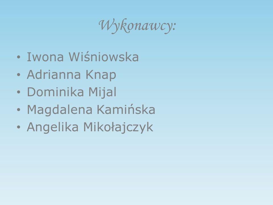Wykonawcy: Iwona Wiśniowska Adrianna Knap Dominika Mijal Magdalena Kamińska Angelika Mikołajczyk