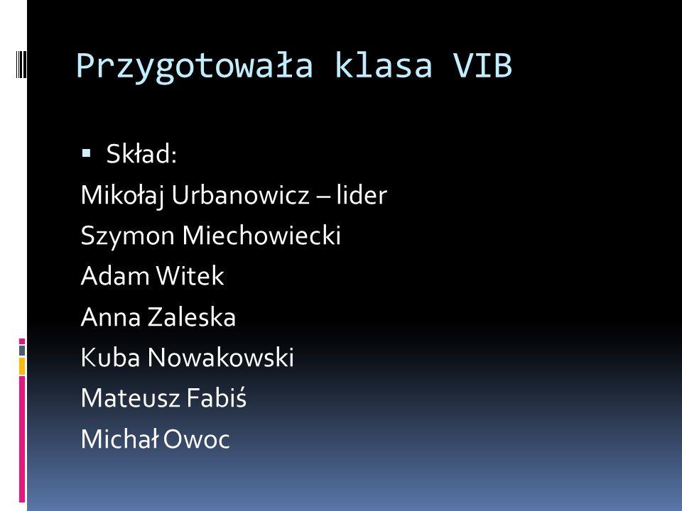 Przygotowała klasa VIB  Skład: Mikołaj Urbanowicz – lider Szymon Miechowiecki Adam Witek Anna Zaleska Kuba Nowakowski Mateusz Fabiś Michał Owoc