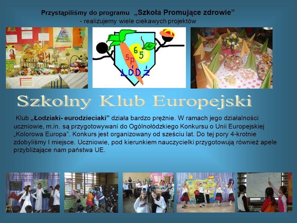"""Klub """"Łodziaki- eurodzieciaki"""" działa bardzo prężnie. W ramach jego działalności uczniowie, m.in. są przygotowywani do Ogólnołódzkiego Konkursu o Unii"""