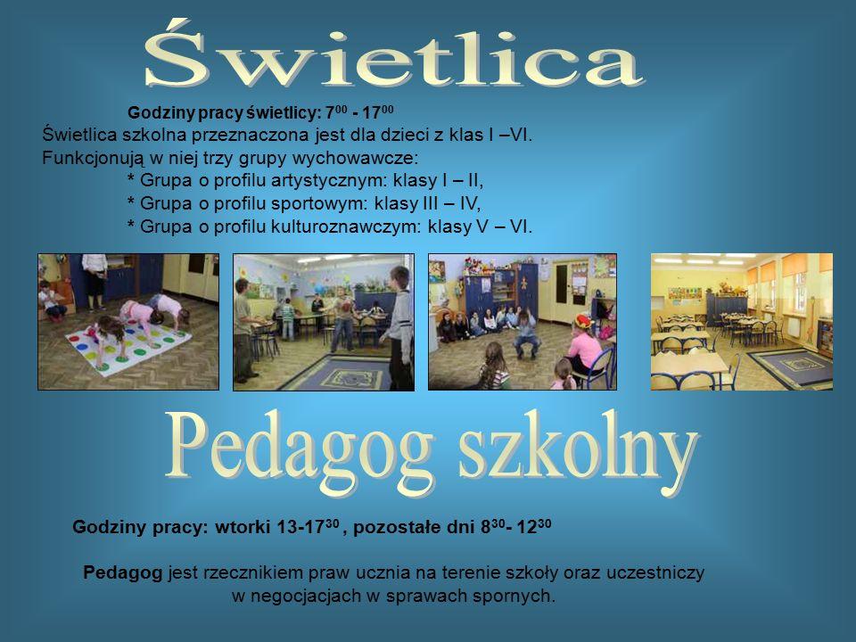 Godziny pracy świetlicy: 7 00 - 17 00 Świetlica szkolna przeznaczona jest dla dzieci z klas I –VI. Funkcjonują w niej trzy grupy wychowawcze: * Grupa