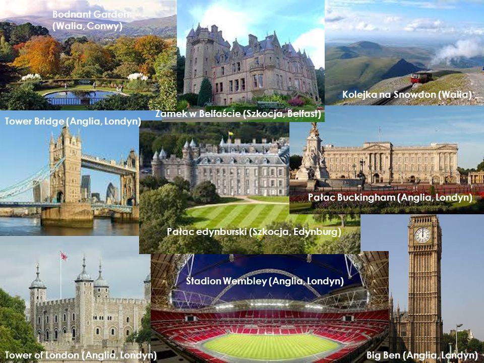 Kolejka na Snowdon (Walia) Big Ben (Anglia, Londyn) Tower Bridge (Anglia, Londyn) Stadion Wembley (Anglia, Londyn) Pałac edynburski (Szkocja, Edynburg) Bodnant Garden (Walia, Conwy) Zamek w Belfaście (Szkocja, Belfast) Tower of London (Anglia, Londyn) Pałac Buckingham (Anglia, Londyn)