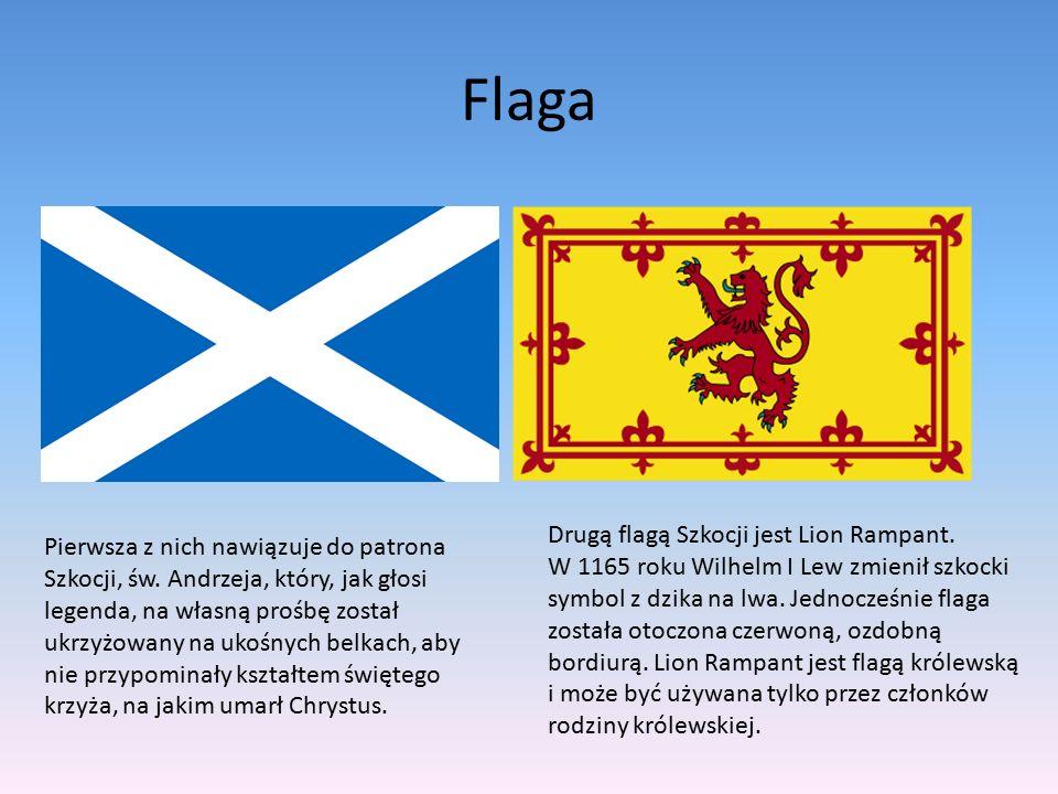 Flaga Pierwsza z nich nawiązuje do patrona Szkocji, św. Andrzeja, który, jak głosi legenda, na własną prośbę został ukrzyżowany na ukośnych belkach, a