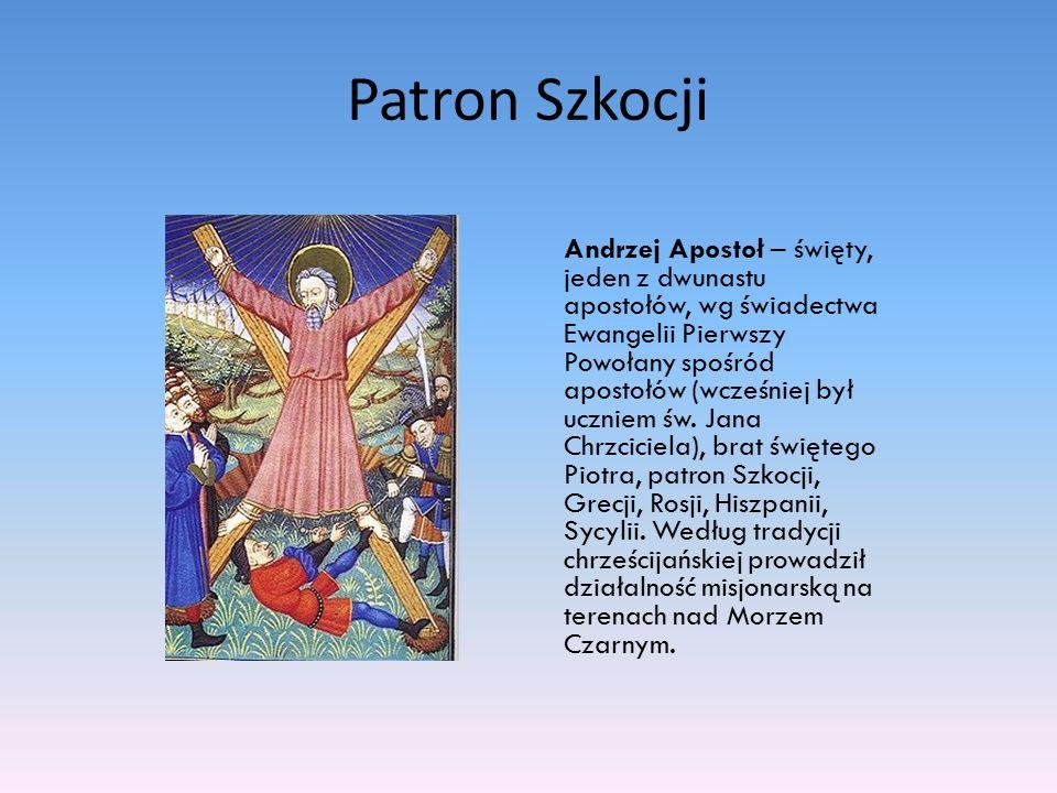 Patron Szkocji Andrzej Apostoł – święty, jeden z dwunastu apostołów, wg świadectwa Ewangelii Pierwszy Powołany spośród apostołów (wcześniej był ucznie
