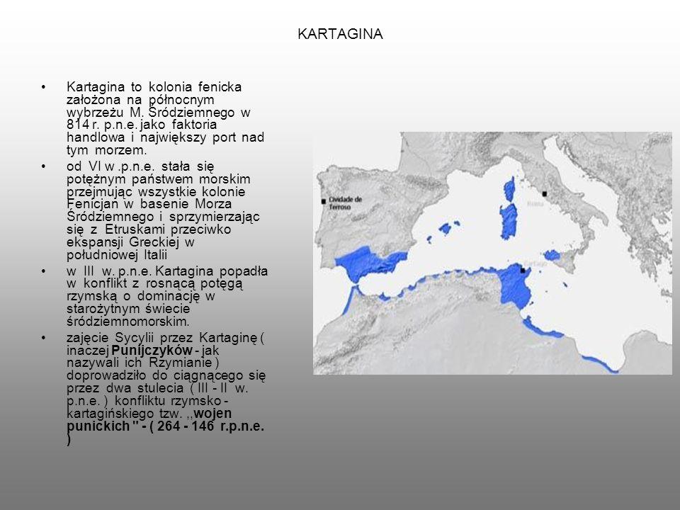 KARTAGINA Kartagina to kolonia fenicka założona na północnym wybrzeżu M.
