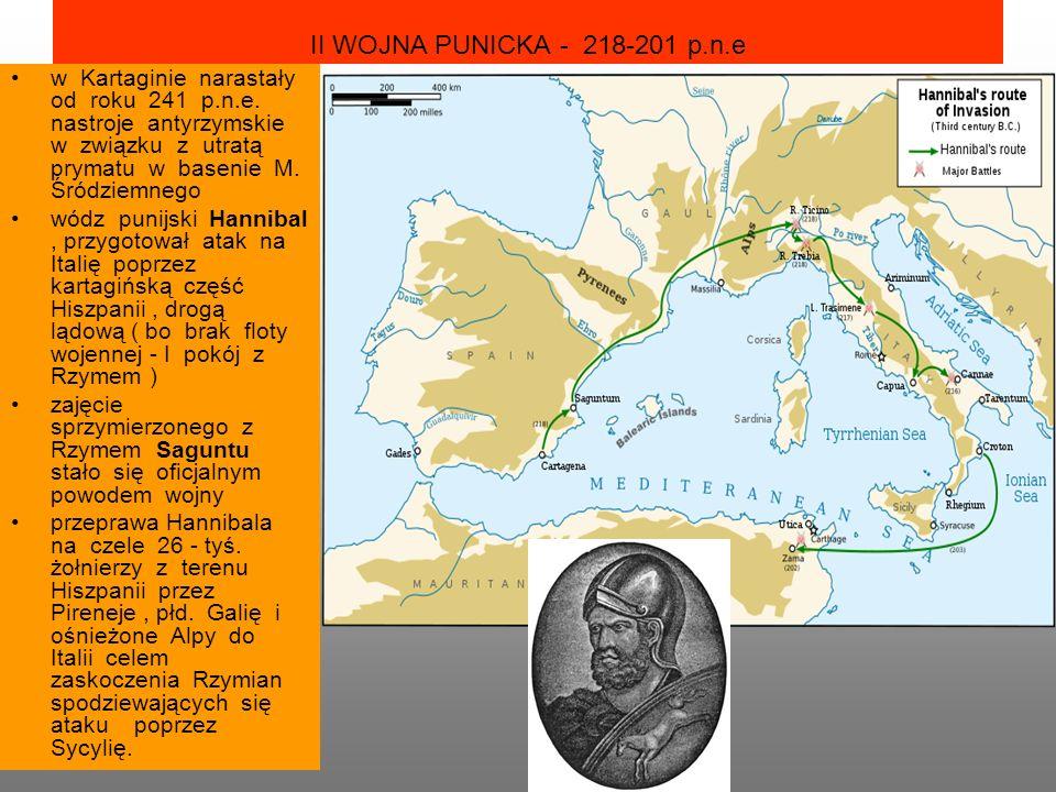 II WOJNA PUNICKA - 218-201 p.n.e w Kartaginie narastały od roku 241 p.n.e.