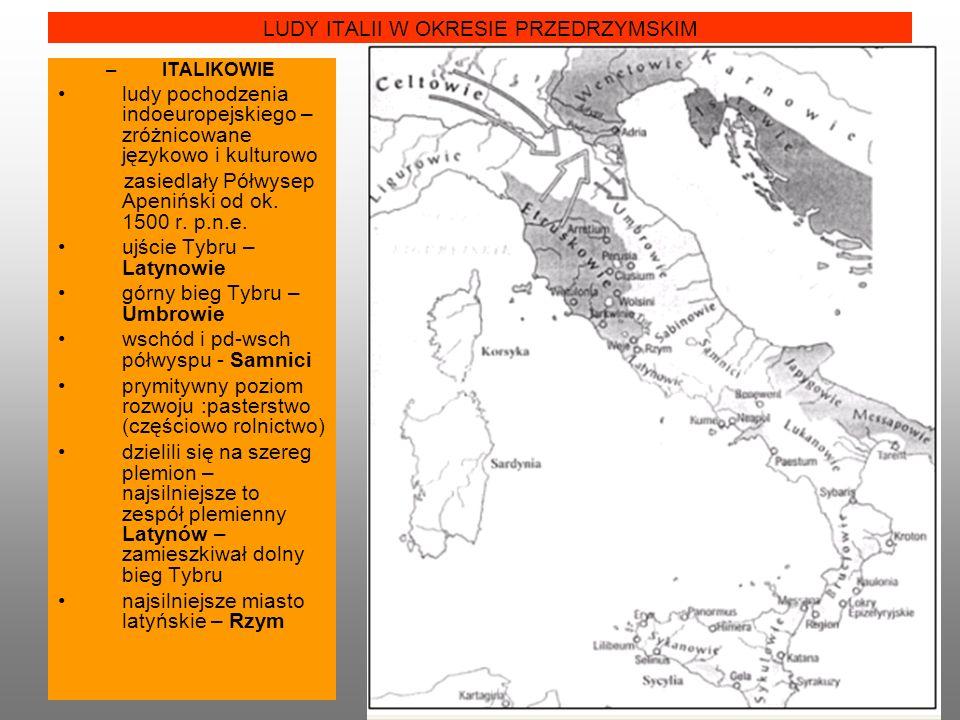 LUDY ITALII W OKRESIE PRZEDRZYMSKIM –ITALIKOWIE ludy pochodzenia indoeuropejskiego – zróżnicowane językowo i kulturowo zasiedlały Półwysep Apeniński od ok.