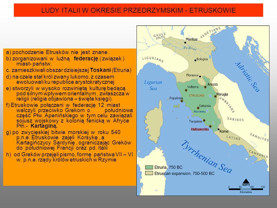 LUDY ITALII W OKRESIE PRZEDRZYMSKIM - ETRUSKOWIE a) pochodzenie Etrusków nie jest znane.
