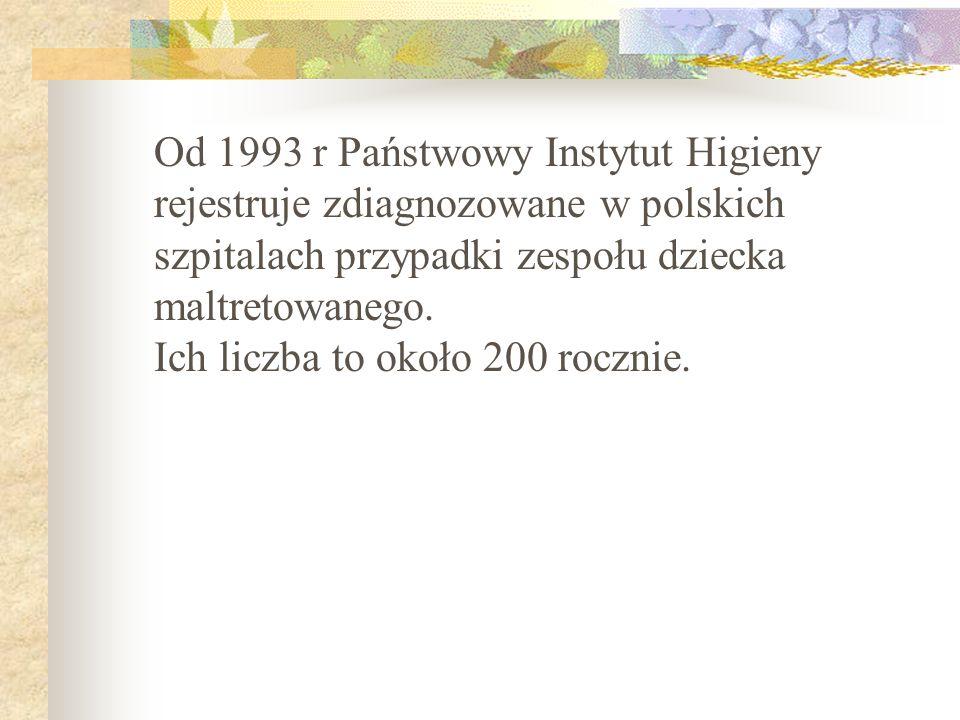 Od 1993 r Państwowy Instytut Higieny rejestruje zdiagnozowane w polskich szpitalach przypadki zespołu dziecka maltretowanego.